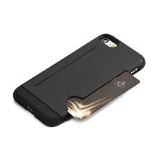 For iPhone 7 - BLACK HARD SLIM FIT CREDIT CARD ID SLOT POCKET ARMOR CASE COVER