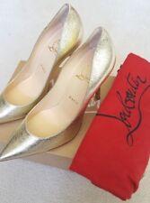 "$695 CHRISTIAN LOUBOUTIN Ladies ""Decoltish"" 100 Gold Leather Pumps Shoes 7.5B"