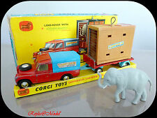 █▓▒░ ★ 1/43 LAND ROVER CHIPPERFIELDS CIRCUS WITH ELEPHANT CORGI TOYS GS19 ★░▒▓█