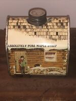 VINTAGE ABSOLUTELY PURE MAPLE SYRUP 16.9 OZ. ADVERTISING TIN CAN