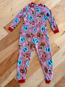 ONE PIECE PINK RUDOLPH REINDEER CHRISTMAS PAJAMAS LARGE please see description