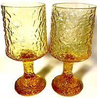 LENOX CRYSTAL GOBLET GLASSES HAND BLOWN IMPROMPTU YELLOW 7 INCH SET OF 2 VINTAGE