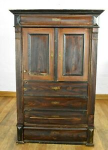 Antique Continental Farmhouse rustic linen cabinet - bookcase - larder cupboard