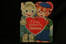 Vintage Kitten And Puppy Valentine Card For Grandma 1940S