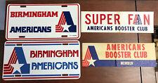 1974 WFL Birmingham Americans Lot Bumper Stickers X 2 License Plates X 2