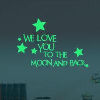 We love you Aufkleber nachts leuchtend Spruch Deko Stern Sticker fluoreszierend