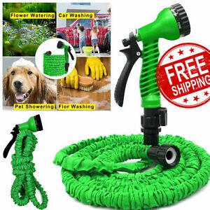 100 Feet 100FT Expandable Flexible Garden Water Hose+Spray Nozzle Green USA