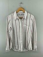 Forever New Womens Pink White Stripe Long Sleeve Button Up Shirt Top Size 10