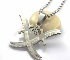 Twin Islamic Imam Ali Zulfiqar Sword Charm Pendant Necklace Shia Shite Persian