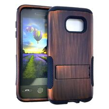 For Samsung Galaxy S7 - HARD & SOFT HYBRID HIGH IMPACT CASE BROWN WOOD KICKSTAND