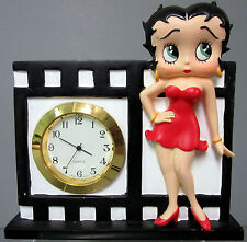 New Betty Boop Film Shelf Desk Table Quartz Clock Red Dress
