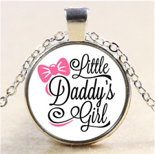 daddy's little girl Photo Cabochon Glass Tibet Silver Pendant Necklace#J18