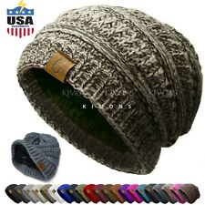 Women's Men Knit Slouchy Baggy Beanie Oversize Winter Hat Ski Slouchy Cap C
