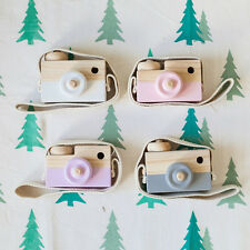 Kids Child Baby Photographed Props Wood Simulation Camera Neck Hanging Rope Toy_