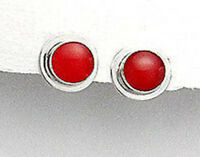 Solid Sterling Silver Genuine Natural Red Coral 12mm Stud Earrings Premium Backs