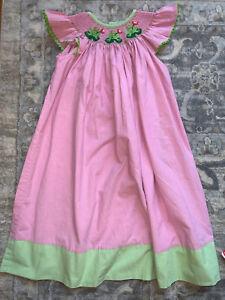 girls shrimp and grits kids size 6 smocked pink Frog dress boutique designer