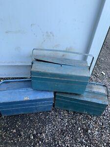 VINTAGE METAL CANTILEVER TOOL BOX TOOLBOX Joblot Bundle X3