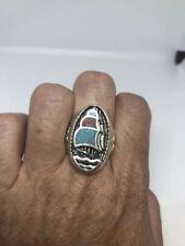 Vintage Southwestern Men's Ship Ring Turquoise Stone Inlay 12.25
