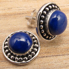 Natural LAPIS LAZULI Gemstone Silver Plated Stud Earrings VINTAGE STYLE