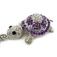 Super Lovely Purple Tortoise Turtle Animal Czech Crystal White GP Necklace