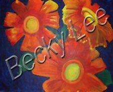 Orange Flowers  Acrylic Artist Painting Print on Stretched Canvas