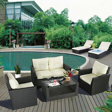 2 Set = 7Pc Patio Garden Lawn Sofa Furniture Set Cushioned Seat Black Rattan