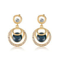 Fashion Jewelry Women Crystal Blue Glass Rhinestone Dangle Wedding Stud Earrings