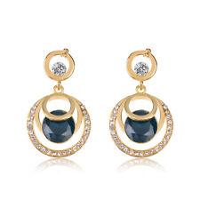 Fashion Jewelry Women Crystal Blue Glass Rhinestone Dangle Wedding Stud Earrings