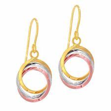 14 Karat Tri-Tone Yellow, White & Rose Gold Three Ring Earrings 14K +FREE GIFT