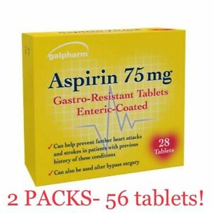 56 Asprin 75mg Gastro-Resistant Tablets 2X 28!! Max 1 Order *BRANDS MAY VARY*