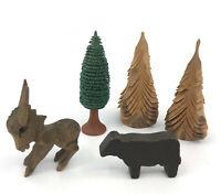 Erzgebirge GDR Wooden Donkey Cow Tree 5 Figure for Pyramid Christmas Display Vtg