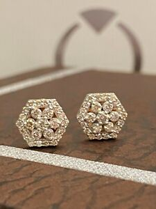 Pave 0.53 Cts Round Brilliant Cut Natural Diamonds Stud Earrings In 585 14K Gold