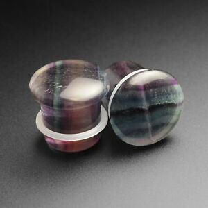Stone Ear Gauges Plugs Rainbow Fluorite Single Flare Convex Stone Plug