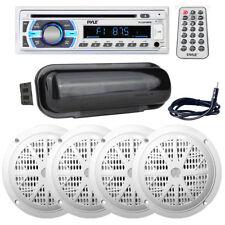 """Pyle Bluetooth Aux Usb Radio, (4) 6.5"""" 120W Boat Speakers + Dust Cover & Antenna"""