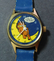 Vintage wind-up Garfield The Cat Jumped Over the Moon Character Watch for Repair