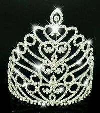 Large Silver Plated Diamante Tiara  Wedding Pageant Crown