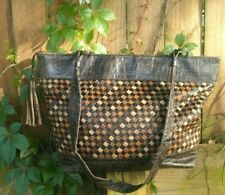 Vintage Meyers Safari Purse Brown Tan Woven Leather African style Bag Zipper
