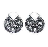 Silver Steel Lotus Flower Ear Weights or Earrings, Plugs and Tunnels
