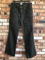 Joie Womens Size 27 Army Green Jeans Pants Wide Leg Pockets Coupe Cut Button Fly