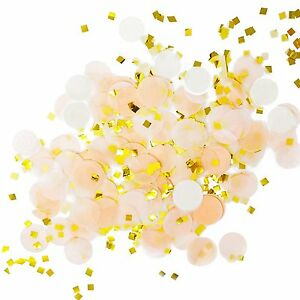 Peach White Gold Metallic Tissue Paper Shredded Circle Confetti Party Decoration