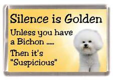 "Bichon Frise Dog Fridge Magnet ""Silence is Golden ....."" by Starprint"