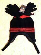Berkshire Boys Winter Hat & Touch Screen Gloves Set Red Charcoal Gray New