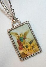 Lovely Pasteled Rectangular St. Michael Archangel Picture Medal Necklace