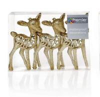 6 x Gold Glitter Deer Reindeer Hanging Decorations Christmas tree Baubles 19cm