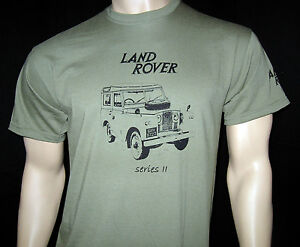 LAND ROVER Series 2 T-SHIRT - 5 sizes Olive Green, Khaki or Ash Grey + Sepia car