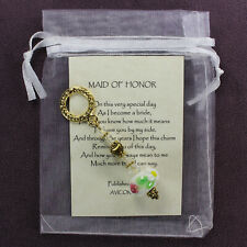 Maid Of Honor Charm Amulet Wedding Bridal Love Flower Gold Heart Ring Symbol