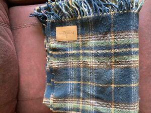 Pendleton Throw Blanket With Tassels  Plaid - 100% Wool Vintage USA Made Read