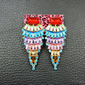 Betsey Johnson Fashion Jewelry Noble Colorful Crystal Stud Earring
