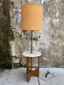 Sculptural Travertine Walnut Modeline Table Floor Lamp Adrian Pearsall Style