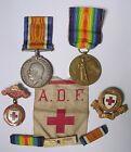 Medal pair Sister nurse French Red Cross original ADF cloth badge emblem